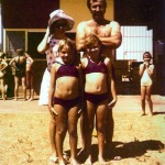 Mum, Dad, Deb and me at the Carnarvon Pool, c. mid '70s.