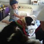 Joey with Hazel the therapy dog.